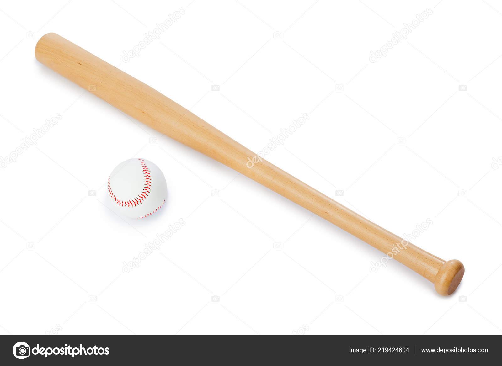 Bate Béisbol Balón Aislado Sobre Fondo Blanco — Foto de stock ... cc2e40c95f59f