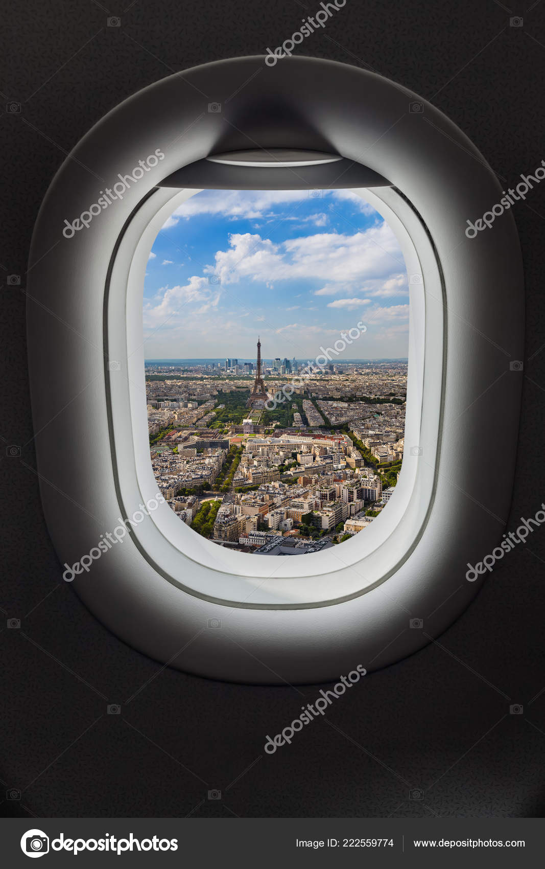 Paris France Airplane Window Travel Background Stock Photo