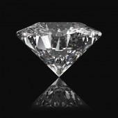 Diamant auf schwarzem Hintergrund mit Reflexion 3D-Renderer.
