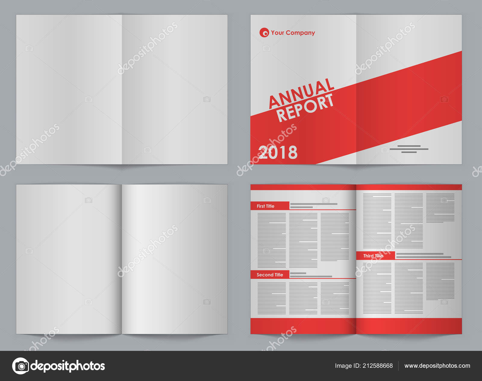 blank booklet front back two page spread vector template simple
