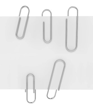 Paper clips on white paper 3D rendering. stock vector