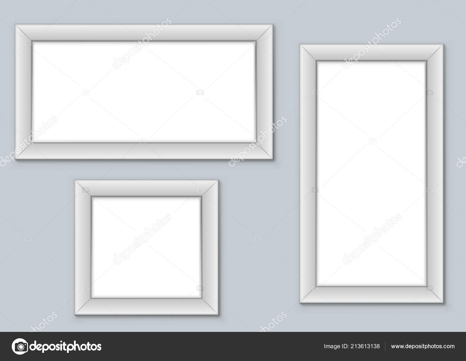 blank picture frames hanging wall vector template well organized