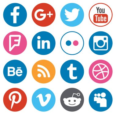 Set of flat design buttons with the most popular social network logotypes isolated on white background. Illustrative editorial vector illustration.