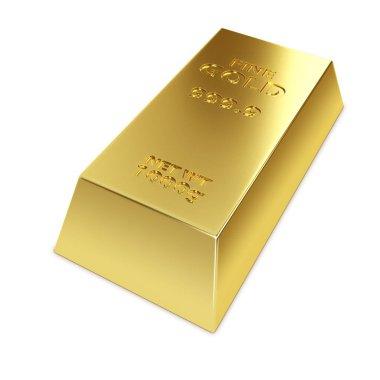 Gold ingot isolated on white background 3D illustration. stock vector