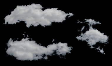 White clouds isolated on white background. Ideal for placing on any image in screen mode.