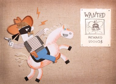 Texas bandit in black mask and cowboy clothes drive horse.Paper cut application for cowboy party