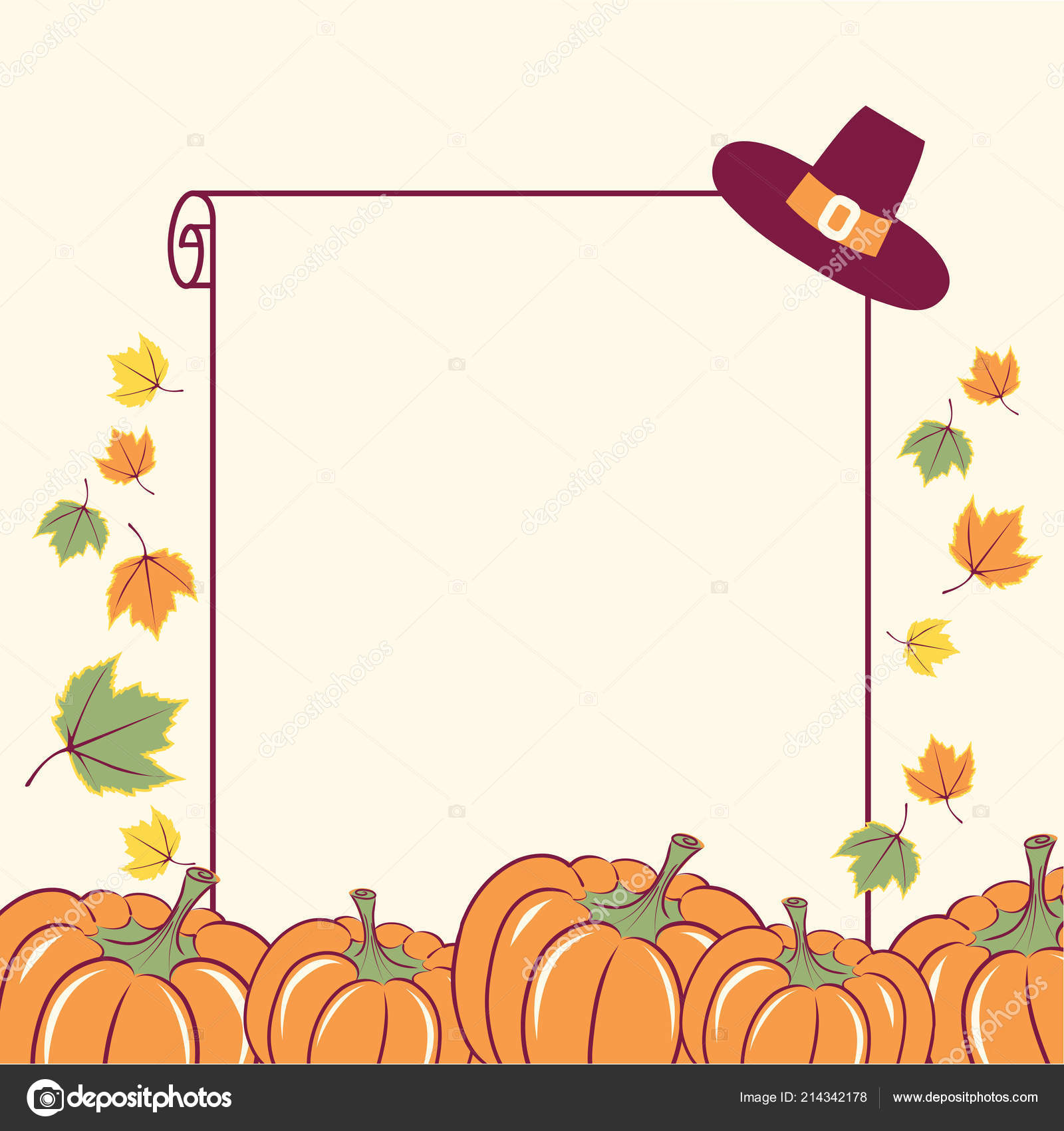 Happy Thanksgiving Background Seasonal Pumpkins Decoration Text