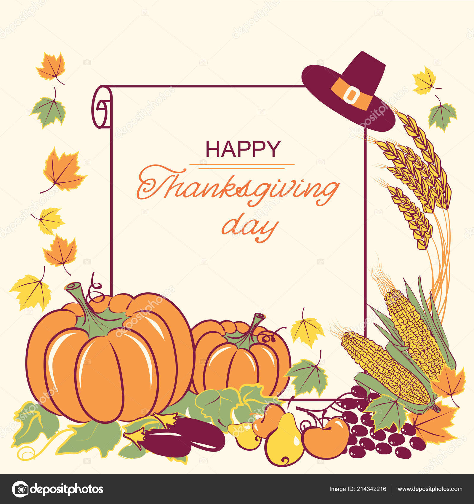 Happy Thanksgiving Background Seasonal Decoration Text Old