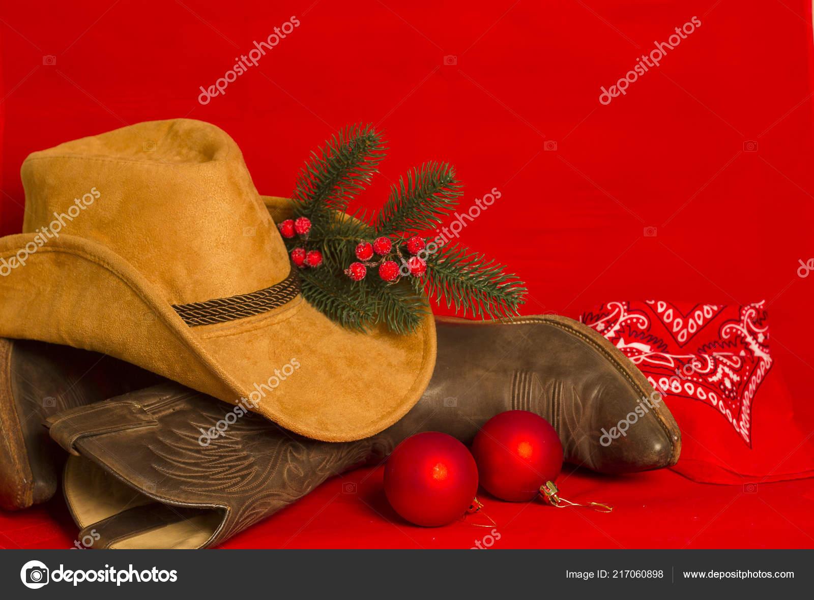 Amerikanische Weihnachtskarten.Cowboy Weihnachtskarte Amerikanischen Westen Traditionelle Stiefel
