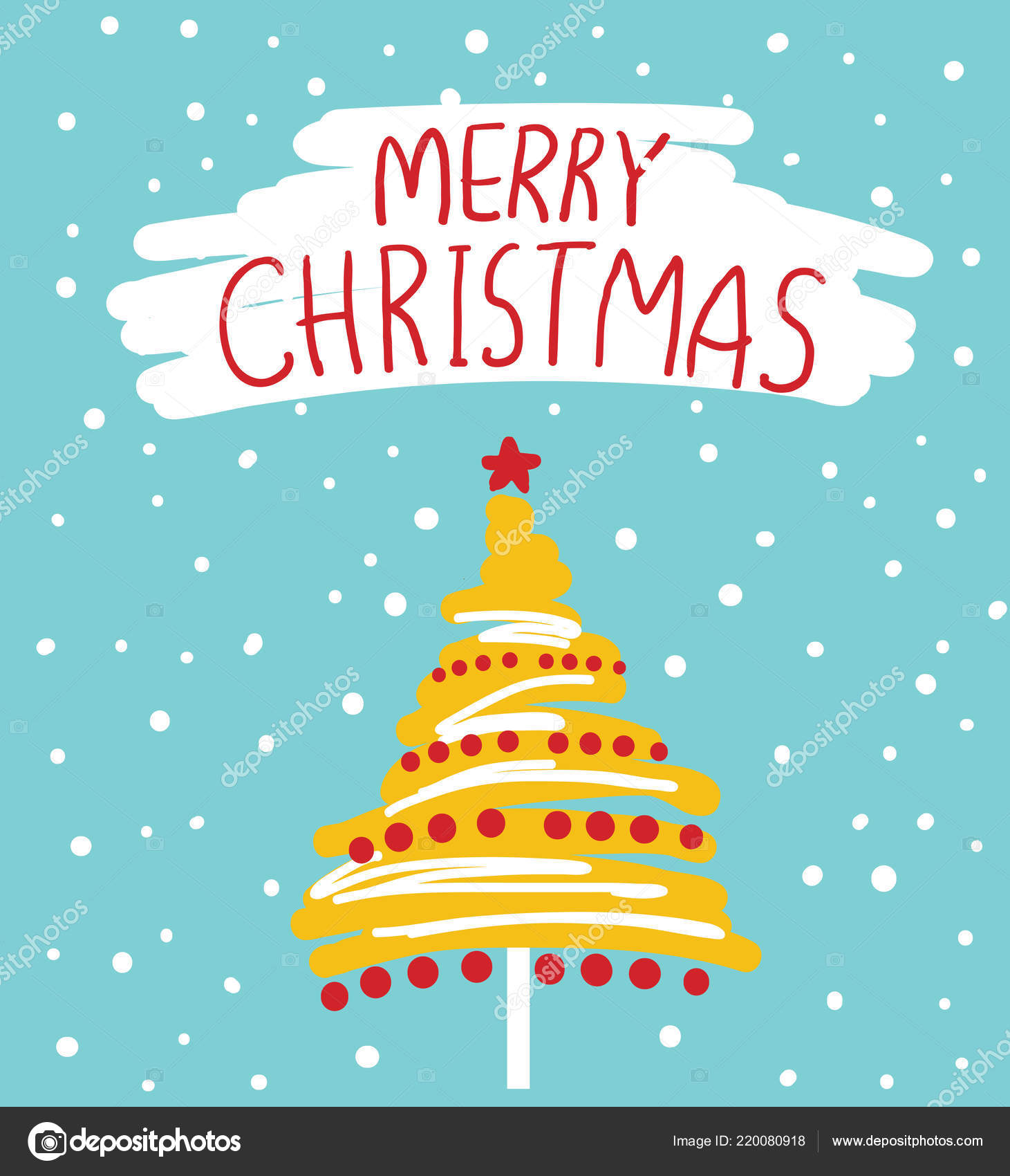 Christmas Card Vector Color Illustration Text Christmas Tree — Stock ...