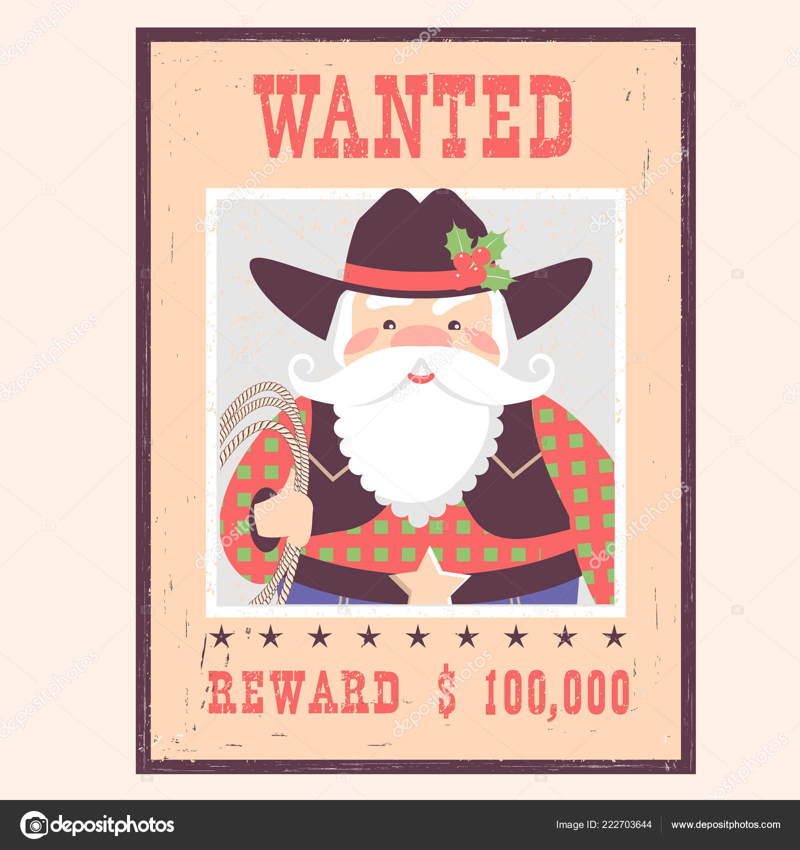 Wanted Poster Santa Claus Old Paper Vector Western Christmas Card ...