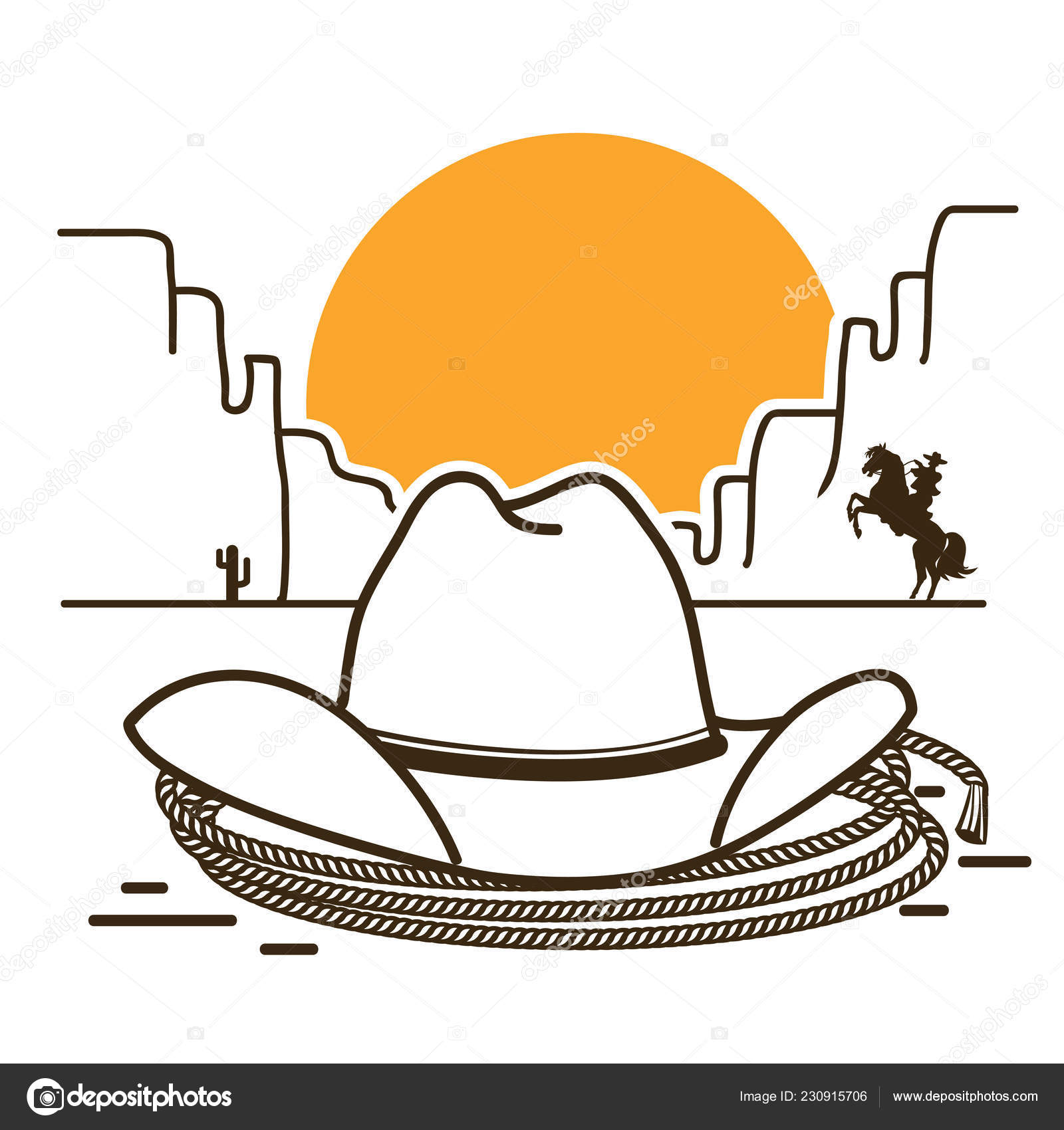 Wild West illustration with cowboy western hat and lasso on American desert  and sun on white background — Vector by GeraKTV ed47daff0e85