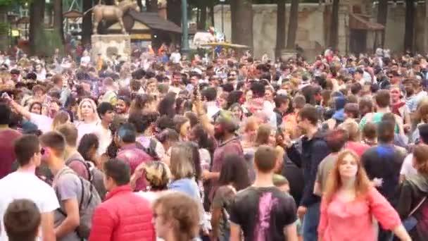 Ukraine, Kharkov, 2018: People Celebrate Holi Colors Festival. Cool and modern open-air party. Celebration of Holi colors festival.
