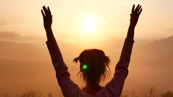 Happy Winning Success Woman at Sunset or Sunrise Standing Elated with Arms Raised up Above Her Head