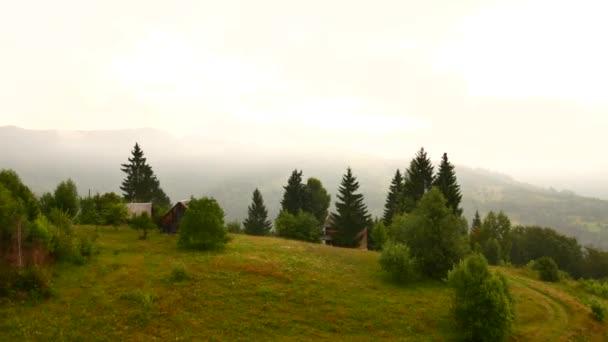Foggy morning landscape at Carpathian mountains. Ukraine destinations and nature.