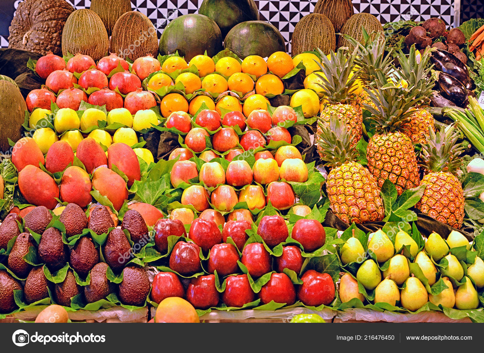 Background Many Different Fruits Farmers Market Stock