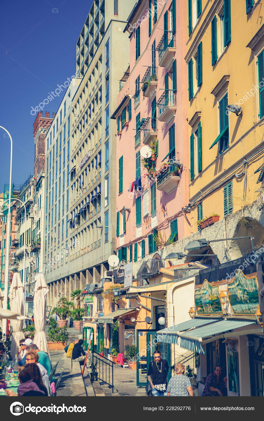 Genova Italy October 2018 Italian Restaurant Colorful Old Houses
