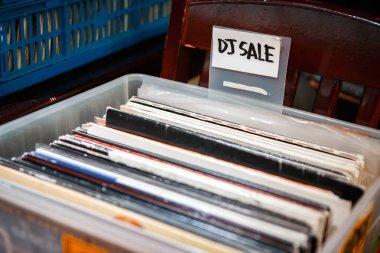 Dj vinyl records in box. Buy vintage disc jockey audio record with music