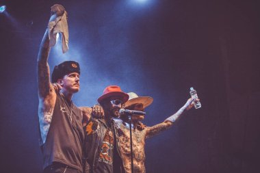 MOSCOW - 27 AUGUST, 2015: Michael Etna aka Yelawolf presents his new album Love Story in Russia with support of World DMC Champion DJ Klever and guitarist Bones Owens