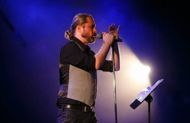MOSCOW - 6 OCTOBER, 2016: Vacuum and Mattias Lindbloom playing concert on stage of Yotaspace night club.