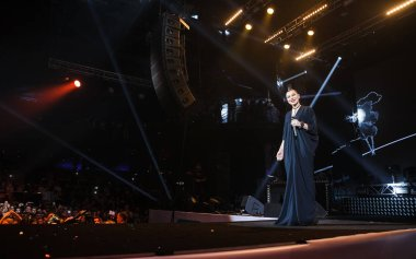 Popular pop singer Elka performing on stage of Space Moscow nightclub at Like Party hosted by Like FM on 25 September, 2016