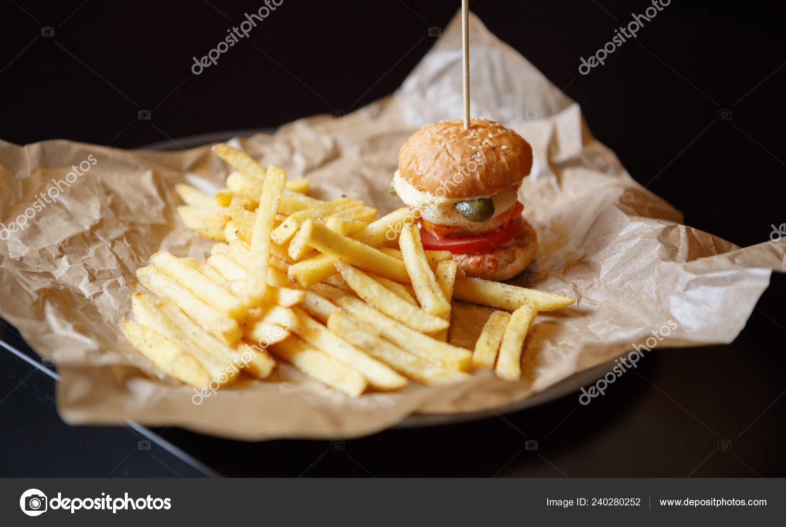 Tasty Little Baby Burger Fast Food Cafe Menu Delicious Small Stock Photo C Hurricanehank 240280252
