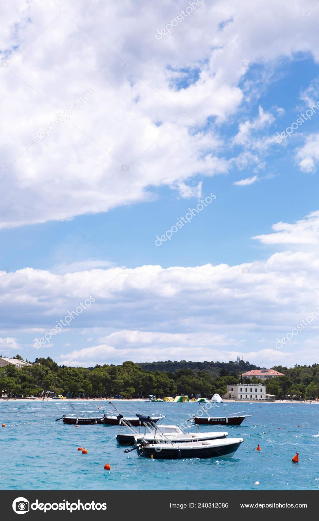 Rental Motor Boats Drift Waves Beautiful Adriatic Sea