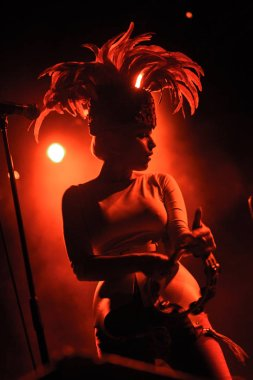 MOSCOW - 13 MARCH, 2015: Wet Red warming up before Morcheeba on stage of Glavclub nightclub