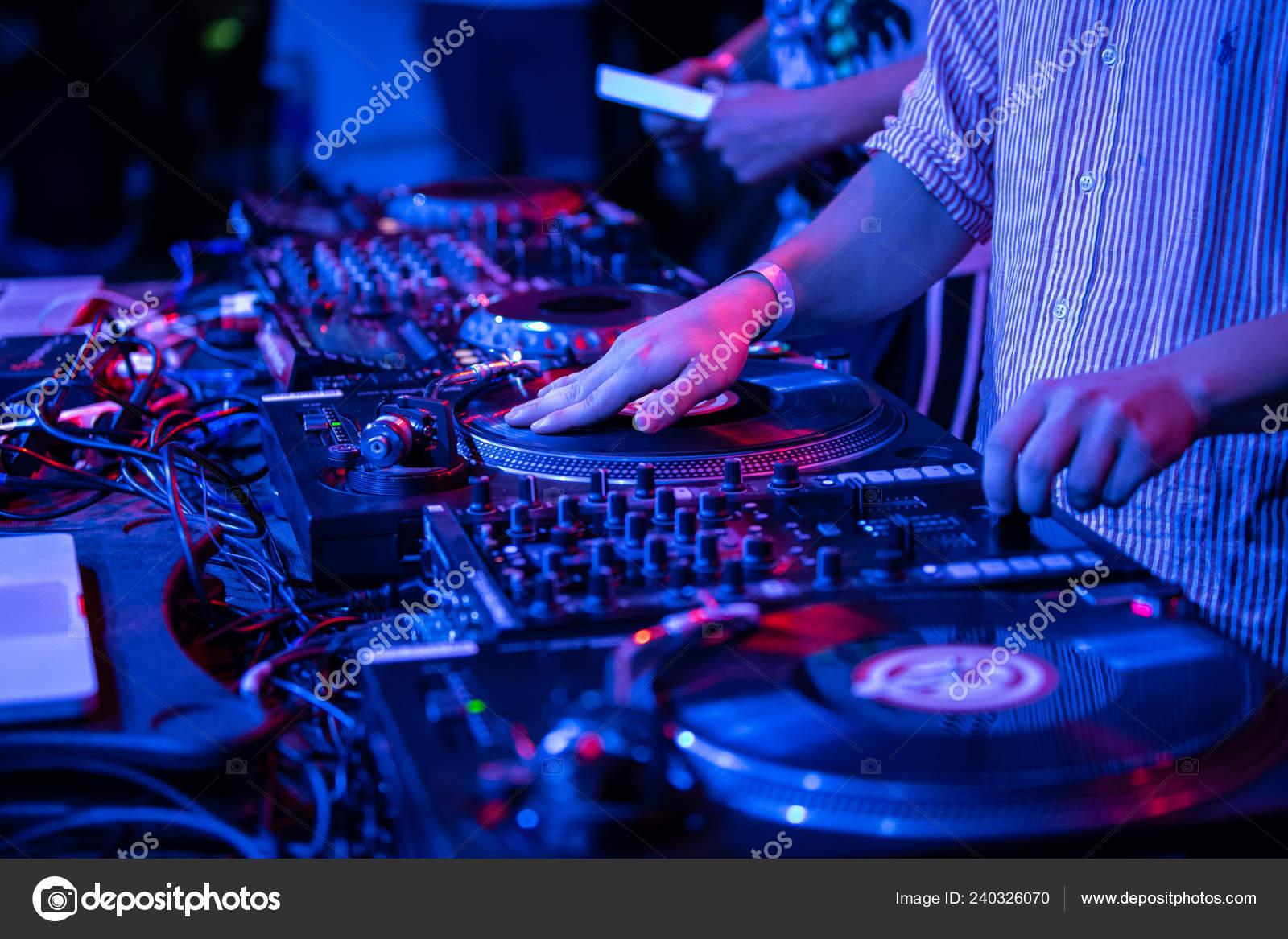 Kiev July 2018 Hands Hip Hop Scratching Vinyl Records Technics
