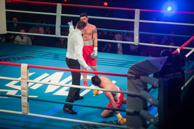 MOSCOW - 18 MARCH, 2016 : Professional boxing show Fight For The Future. Jheritz Chaves versus Vage Sarukhanyan (won) fought for the WBC EPBC (Eurasia Pacific Boxing Council) Championship promoted by Punch Boxing Promotions.