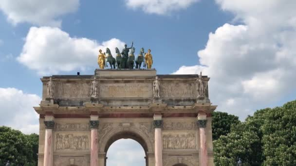 PARIS,FRANCE-30 APRIL,2019: Triumph Arch in center of Paris.One of the most famous French landmarks.Popular tourist sightseeing in French Republic.Travel destination for cultural tourism in Europe