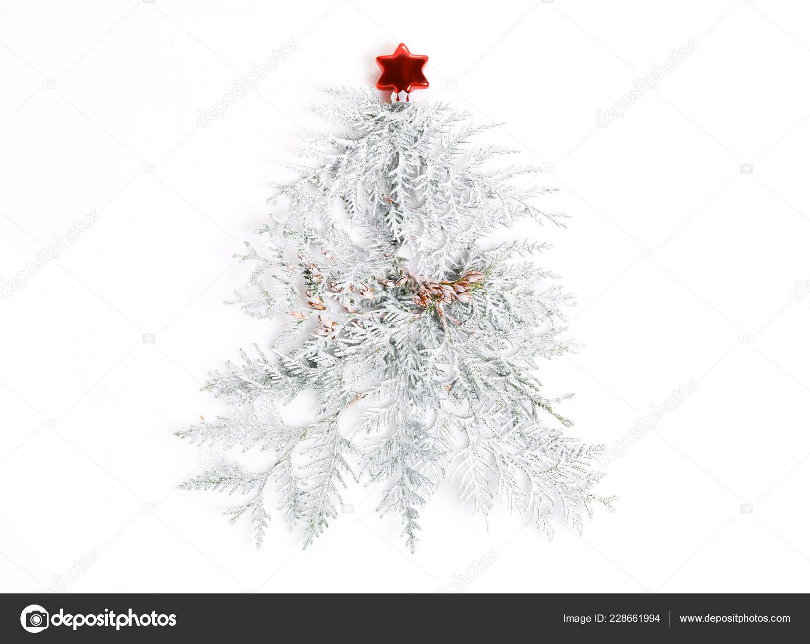 Minimalist Christmas Tree Bright Colors Made Pine Branches White Background Stock Photo C Olga18x27 228661994