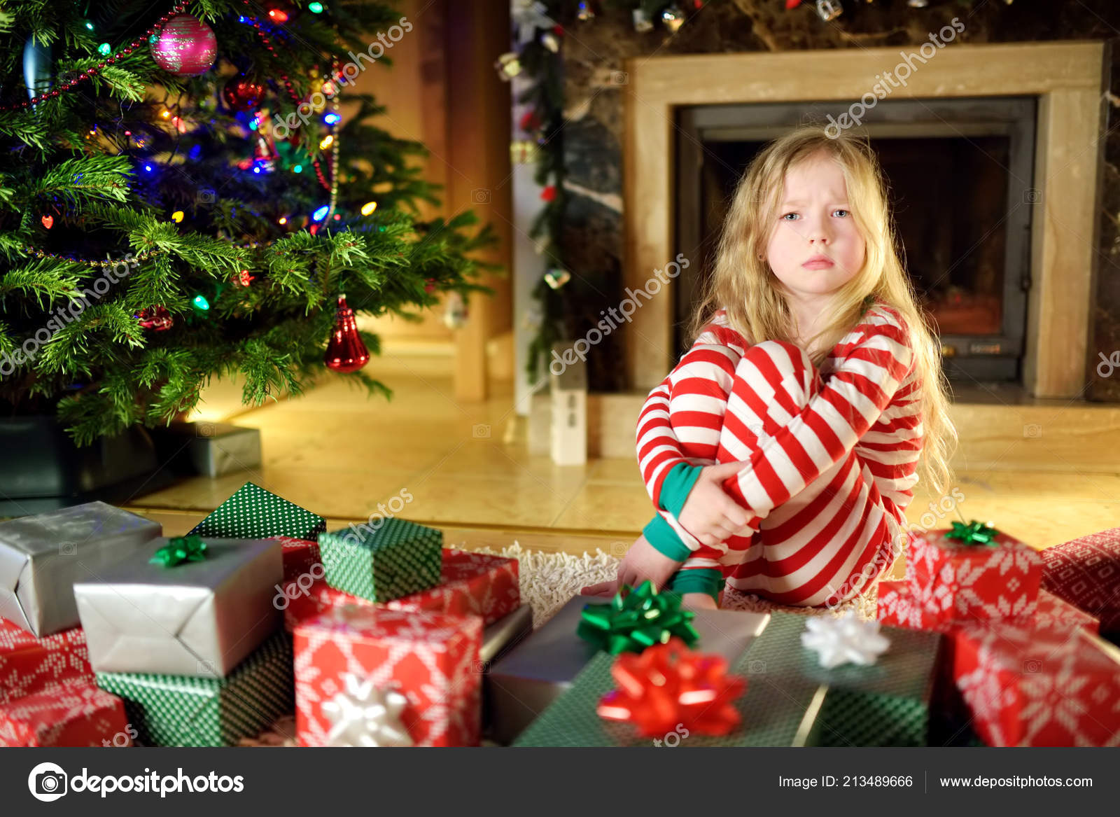 Cute Christmas Gifts For Girlfriend.Cute Little Girl Feeling Unhappy Her Christmas Gifts Child