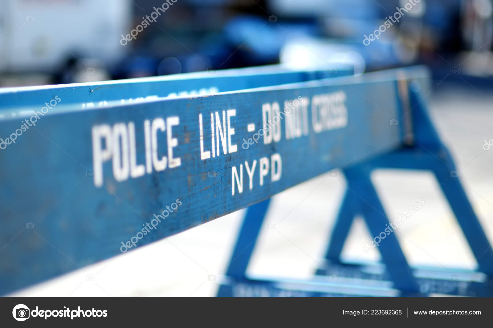 Wooden Cross Police Line Barriers New York Usa – Stock