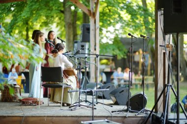TRAKAI, LITHUANIA - JUNE 16, 2018: Historical reenactment activists playing folk-rock music during annual Medieval Festival