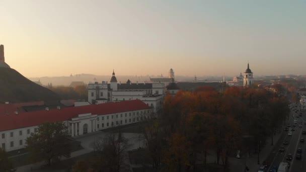 Vzdušný výhled na katedrální náměstí Vilniusu, ležící na křižovatce ulic Vilnius, Litva.