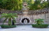 Fotografie Portal of the Guardians - a pavilion under which is hidden one of the entrance way to the Initiatic well. Quinta da Regaleira. Sintra. Portugal