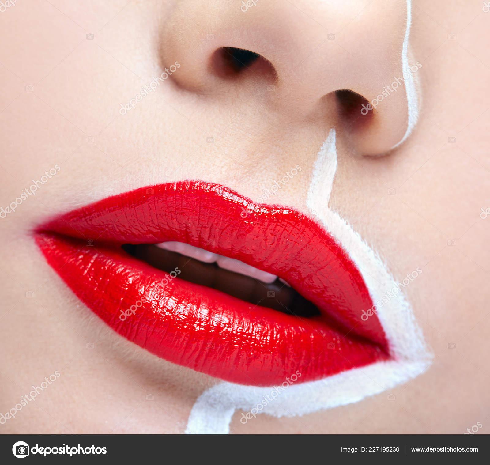 Human Mouth Nose Closeup Macro Portrait Female Part Face Painting Stock Photo C Zastavkin 227195230