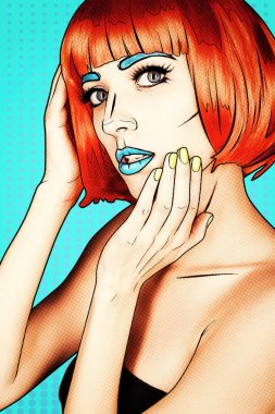 Portrait of young woman in comic pop art make-up style