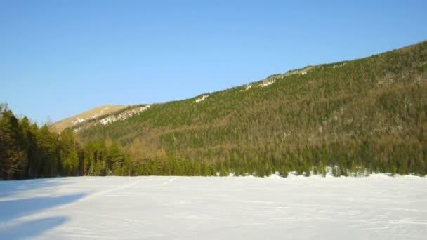 Videopanorama der winterlichen Altaiberge und Kiefernwälder in der Multa-Region. Sibirien, Russland