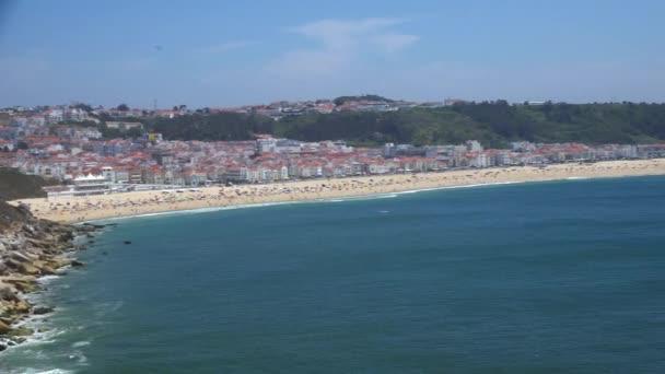Obrazové Panorama Nazské Atlantické pobřeží a písečné pláže v Portugalsku