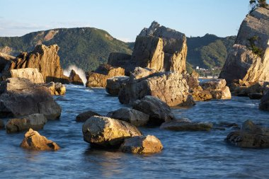 Hashigui-iwa (Bridge Pillar Rocks) at the Kushimoto. Wakayama pr
