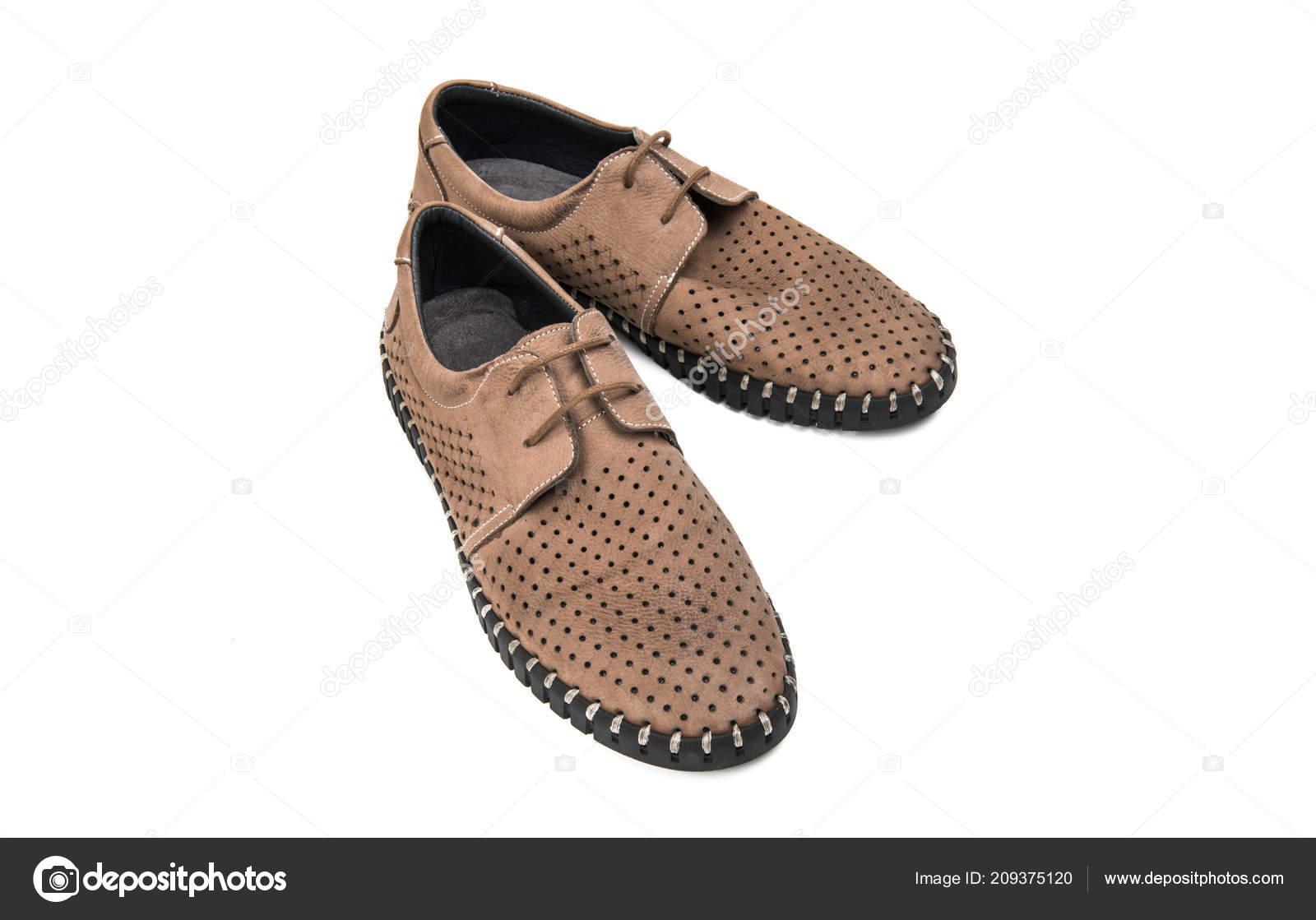 c67489e72e4 Ανδρικά Παπούτσια Καλοκαιρινά Απομονώνονται Λευκό Φόντο — Φωτογραφία ...