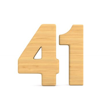 Number fourty one on white background. Isolated 3D illustration