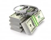 Handcuffs and money on white background. Isolated 3D illustratio