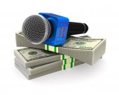 microphone and money on white background. Isolated 3D illustrati