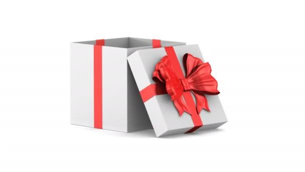 otevřený bílý Dárkový box s červeným úklonem na bílém pozadí. Izolované 3D vykreslení