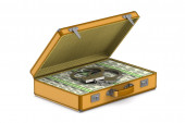 case with cash money and handcuffs on white background. Isolated