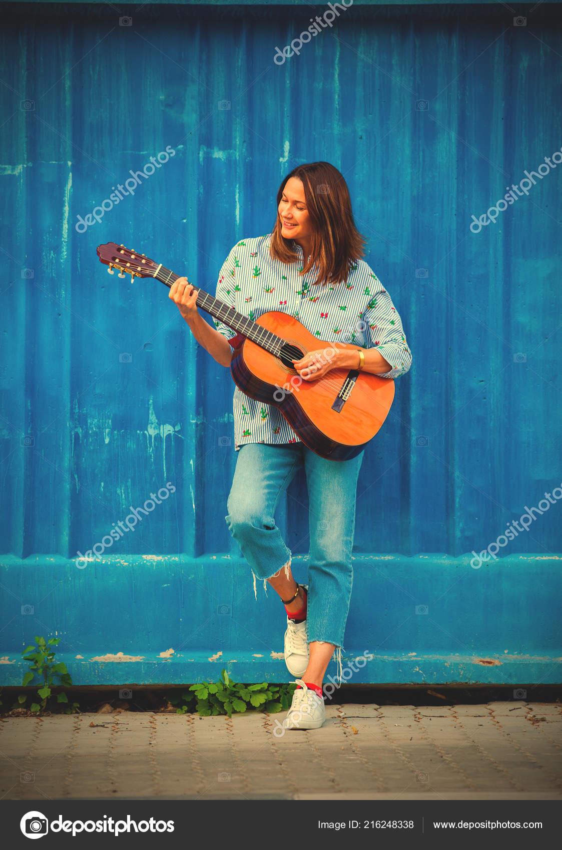 Beautiful Woman Guitar Blue Wall Fashion Style Music