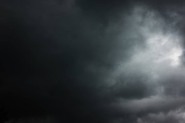Black heavy clouds with hole, may be used as background - Dramatic sky